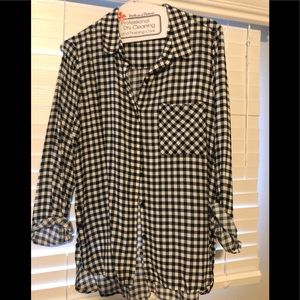 Tops - Black and white plaid button up